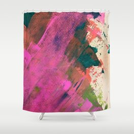 Expand [1]: a colorful, minimal abstract piece in pinks, green, and blue Shower Curtain