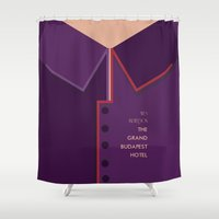 wes anderson Shower Curtains featuring Wes Anderson's Grand Budapest Hotel - Minimal Movie Poster by Stefanoreves