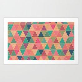 Colorful diamonds print, stone effect Art Print