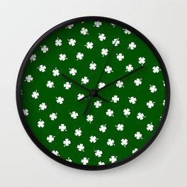 White Shamrocks Green Background Wall Clock