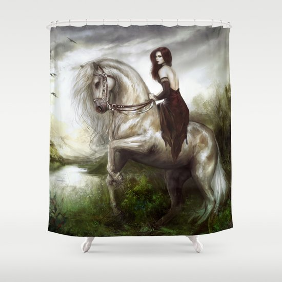 Morning welcome - Royal redead girl riding a white horse Shower Curtain
