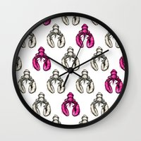 lobster Wall Clocks featuring Lobster by Eloise Roberts