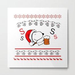 Snoopy Christmas Drinking Beer Metal Print