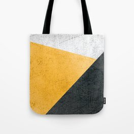Modern Yellow & Black Geometric Tote Bag