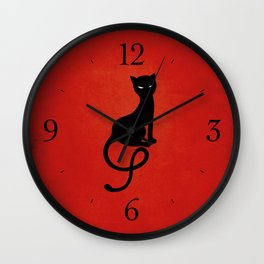 Red Gracious Evil Black Cat Wall Clock