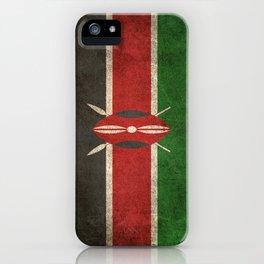 Old and Worn Distressed Vintage Flag of Kenya iPhone Case