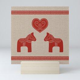 Red Dala Horses on Burlap Mini Art Print