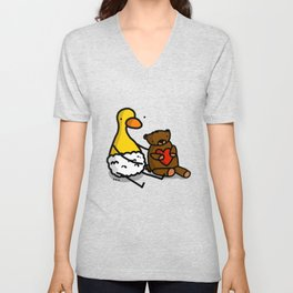 Valentine's Duckling with Teddy Bear | Veronica Nagorny Unisex V-Neck