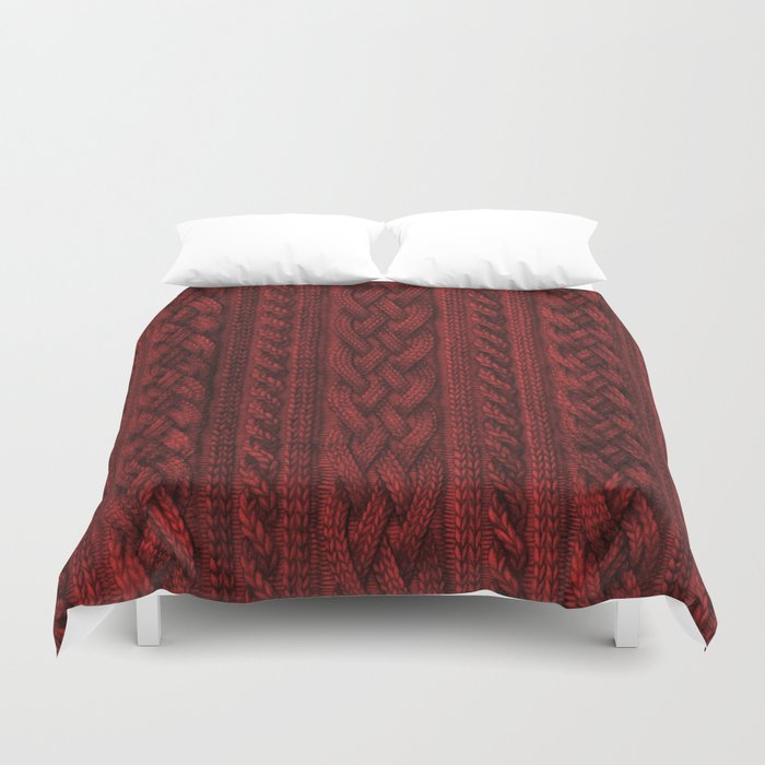 Cardinal Red Cable Knit Bettbezug