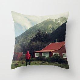 Red stalker hood! Throw Pillow