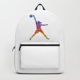 Girl Basketball Player Watercolor Art Colorful Sports Artwork Backpack