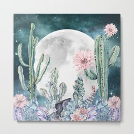 Desert Nights Gemstone Oasis Moon Metal Print