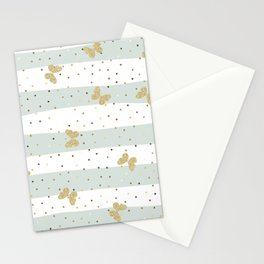 Butterfly Christmas pattern on Pastel Blue and White Stripes Stationery Cards