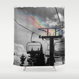 4 Seat Chair Lift Rainbow Sky B&W Shower Curtain