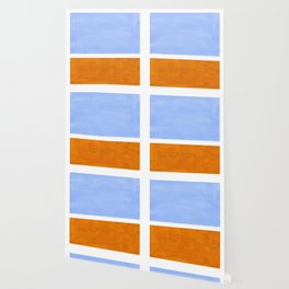 Pastel Royal Blue Yellow ochre Mid Century Modern Abstract Minimalist Rothko Color Field Squares Wallpaper