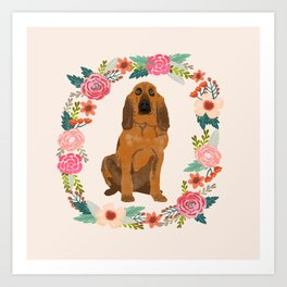 bloodhound floral wreath dog gifts pet portraits Art Print