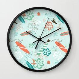 Surfs Up Blue Wall Clock
