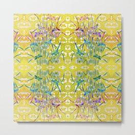 Spring Batik Butterfly Stencil Design - Lemon Yellow | Chinoiserie Chic Watercolor  Metal Print