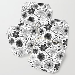 black and white floral print Coaster