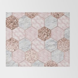 Rose gold dreaming - marble hexagons Throw Blanket