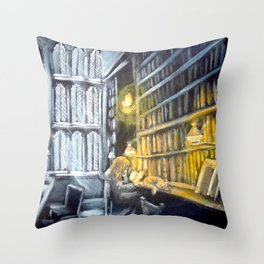 Hermione studying in the library Throw Pillow
