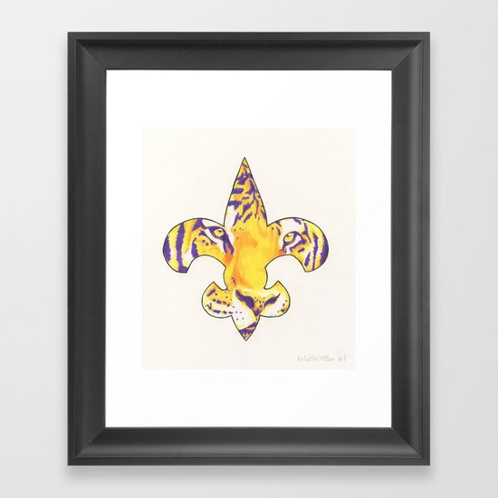 Fleur De Lis Lsu Tiger Framed Art Print By