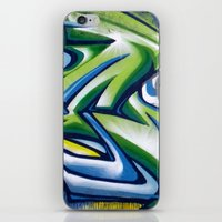 sticker iPhone & iPod Skins featuring Sticker wall by squadcore