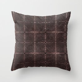 Abstract black rose pink geometrical diamond pattern Throw Pillow