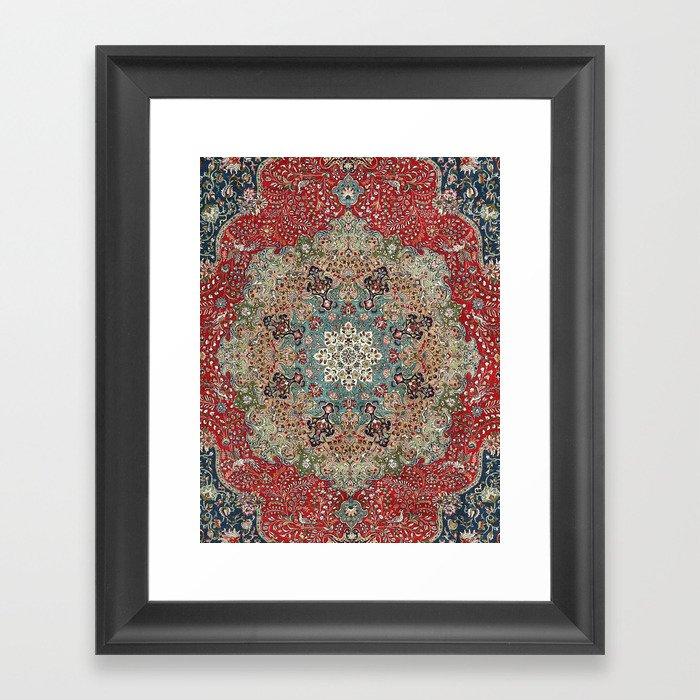 Antique Red Blue Black Persian Carpet Print Gerahmter Kunstdruck