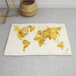 24 Karat World, faux gold world map Rug