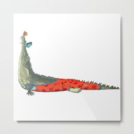 Yoga mood Crocodile Metal Print
