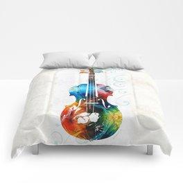 Colorful Violin Art by Sharon Cummings Comforters