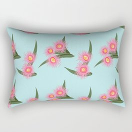 Pink Flowering Gum Australian Native Flora Corymbia Ficifolia Floral on Mint Background Rectangular Pillow