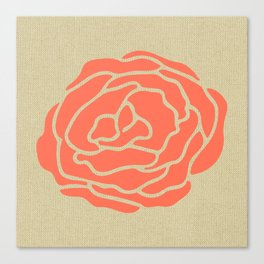 Rose Deep Coral on Linen Canvas Print