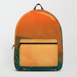 Orange Geometric Mountains Backpack