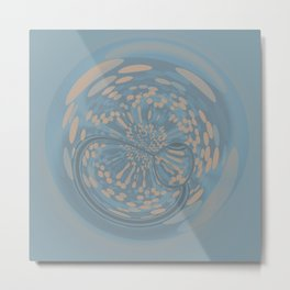 Soft Blue and Beige Circle Abstract Metal Print