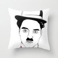 charlie chaplin Throw Pillows featuring Charlie Chaplin by ArpanDholi