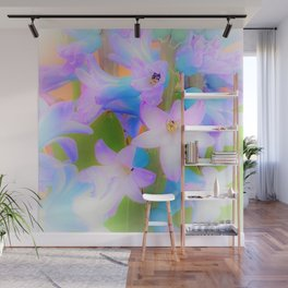 Bouquet in Blue and Pink 3 - enhanced and in blue white and green actually Wall Mural