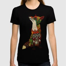 fox love juniper Black LARGE Womens Fitted Tee