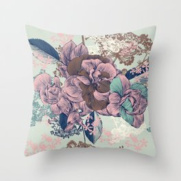Beautiful pattern design with roses, English Victorian style Throw Pillow