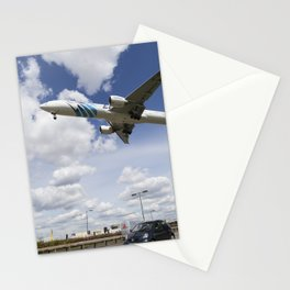 EgyptAir boeing 777  Landing at Heathrow Stationery Cards