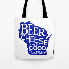 Blue and White Beer, Cheese and Good Company Wisconsin Graphic Tote Bag