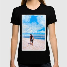 Surfer On The Beach At Playa del Carmen - Mexico T-shirt