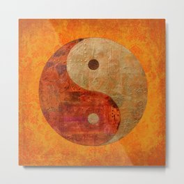 Yin and Yang original collage painting Metal Print