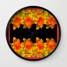 Ebony Black Night Golden Dafffodils Red Accents Wall Clock