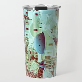 Santorini in Raspberry and Blue: shot using Revolog 600nm special effects film Travel Mug