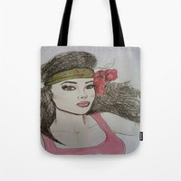 girly Tote Bags featuring Girly,Girly by Nancy Ruvalcaba