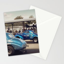 Blue Vintage Willys Gasser Hot Rods Drag Racing Stationery Cards