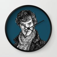 benedict cumberbatch Wall Clocks featuring Sherlock, Benedict Cumberbatch by Sharin Yofitasari