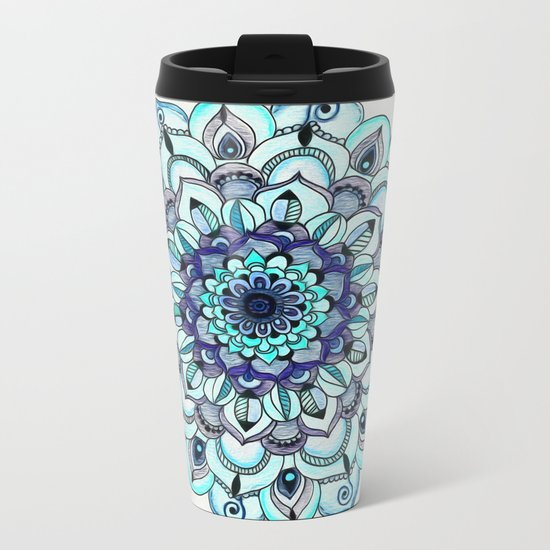 Tide Meets Shore - Blue Mandala Metal Travel Mug
